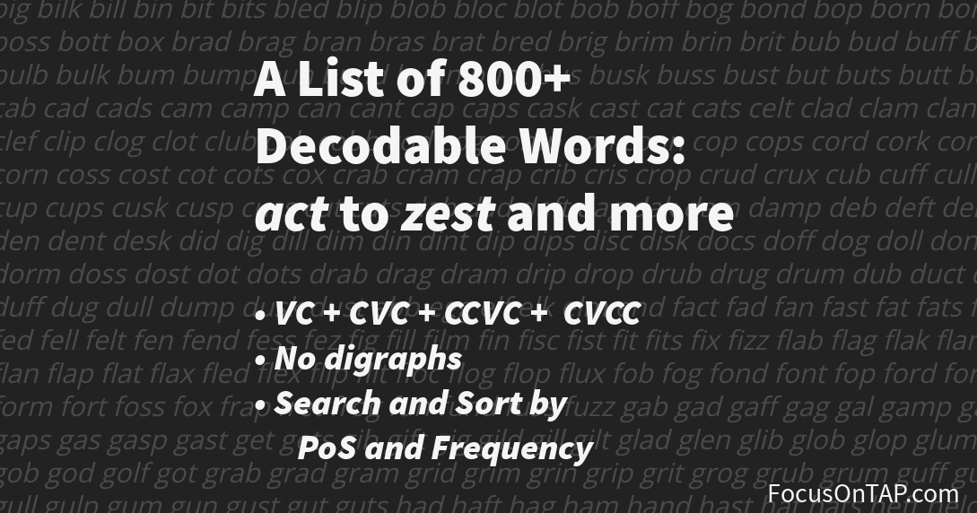 List of 800+ decodable words at the simplest phonics level