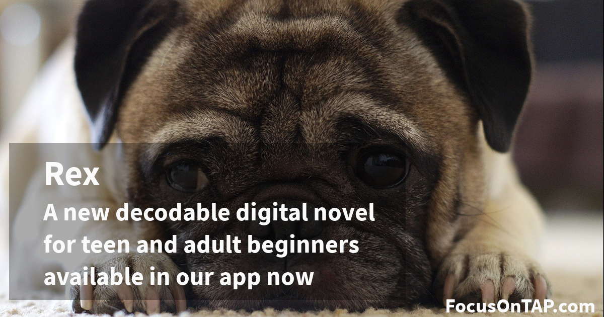 Phonics for adults in a new decodable text Rex: announcement with image of pug puppy